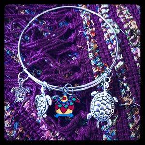 Sea Turtle 4 charm Bracelet•Bangle opens & closes